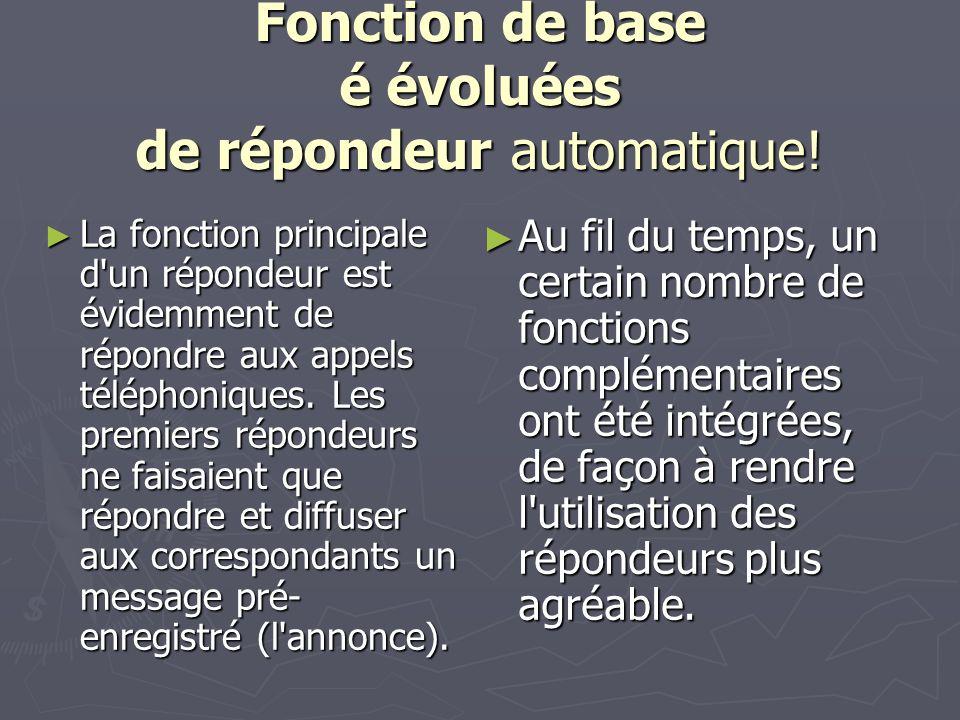Fonction de base é évoluées de répondeur automatique.