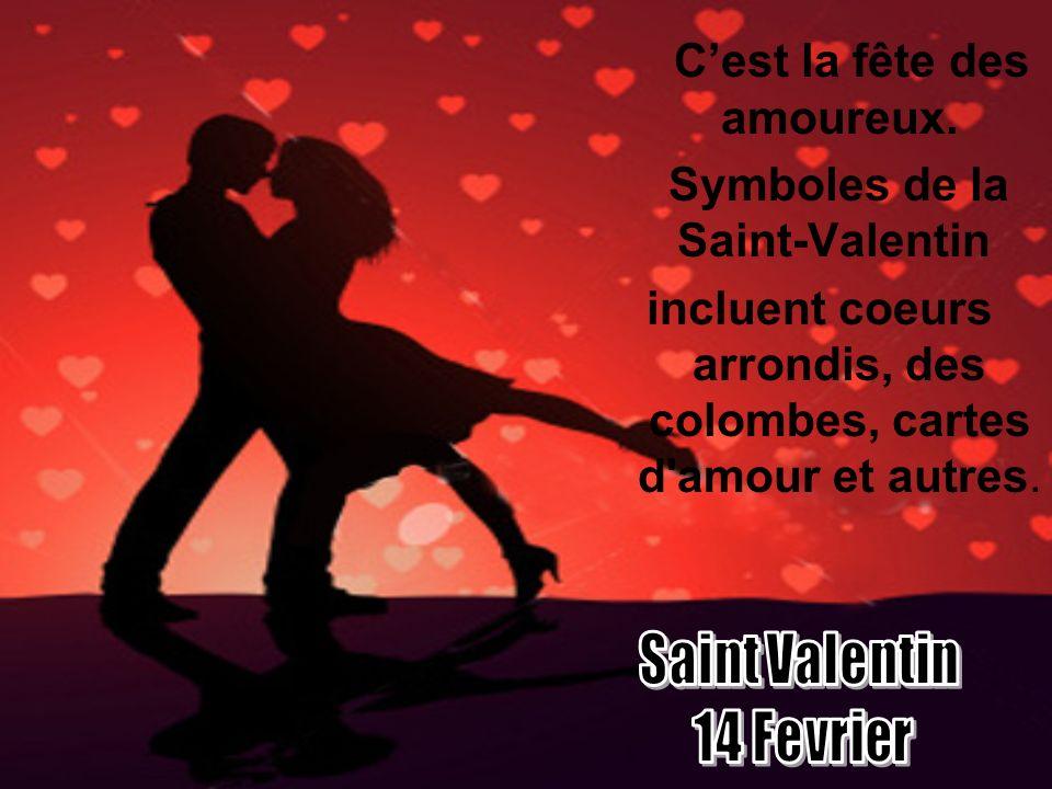 Cest la fête des amoureux. Symboles de la Saint-Valentin incluent coeurs arrondis, des colombes, cartes d'amour et autres.
