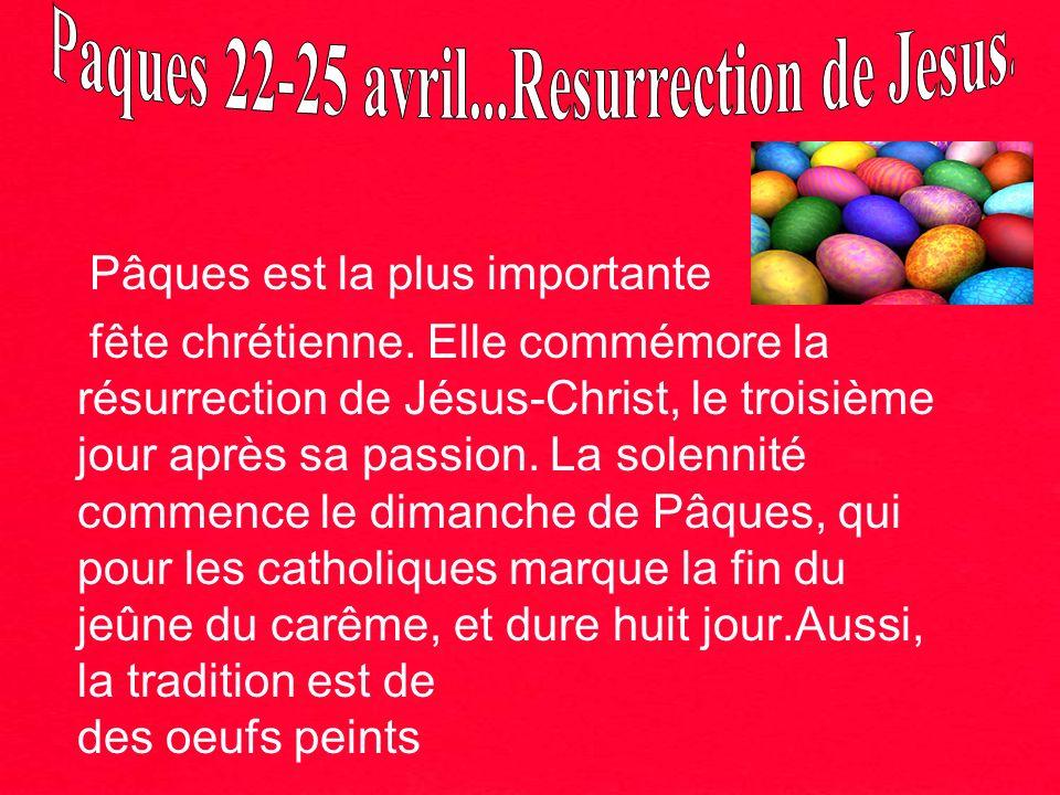 Pâques est la plus importante fête chrétienne. Elle commémore la résurrection de Jésus-Christ, le troisième jour après sa passion. La solennité commen
