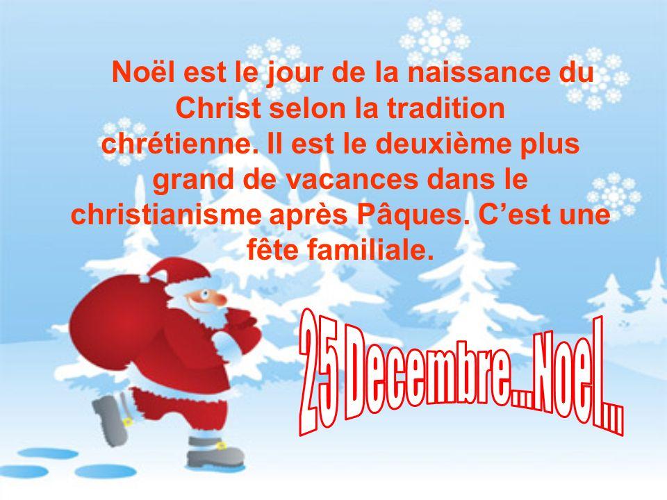Noël est le jour de la naissance du Christ selon la tradition chrétienne. Il est le deuxième plus grand de vacances dans le christianisme après Pâques
