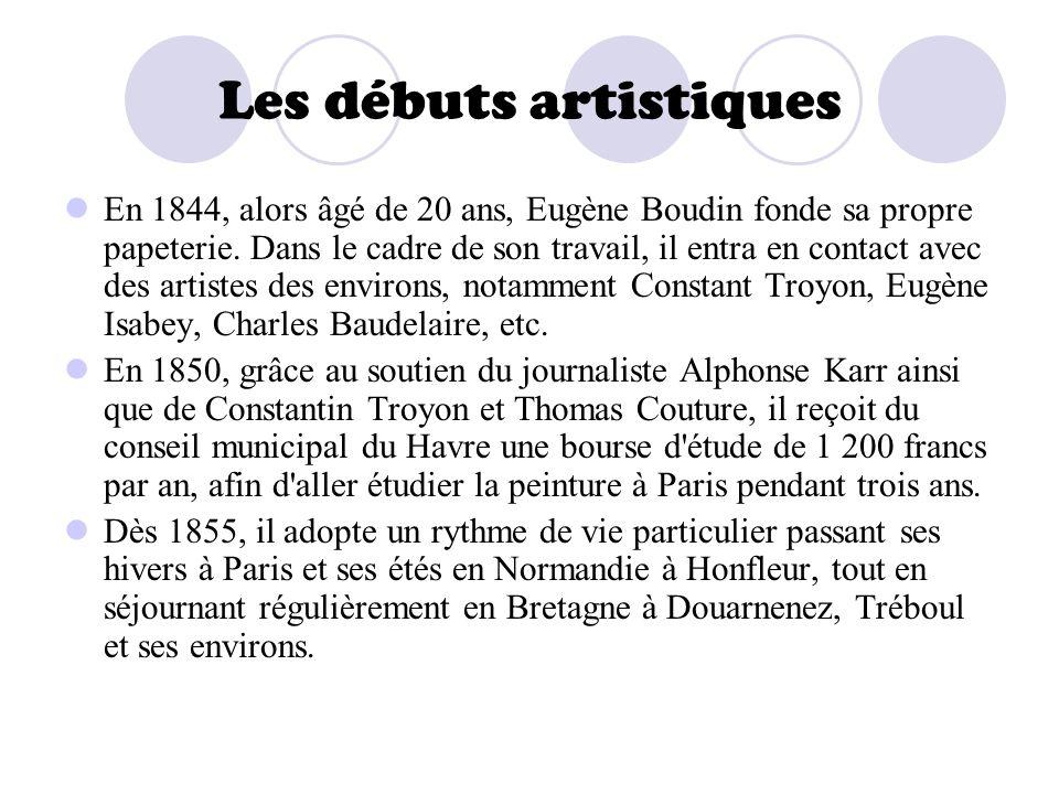 Les débuts artistiques En 1844, alors âgé de 20 ans, Eugène Boudin fonde sa propre papeterie. Dans le cadre de son travail, il entra en contact avec d
