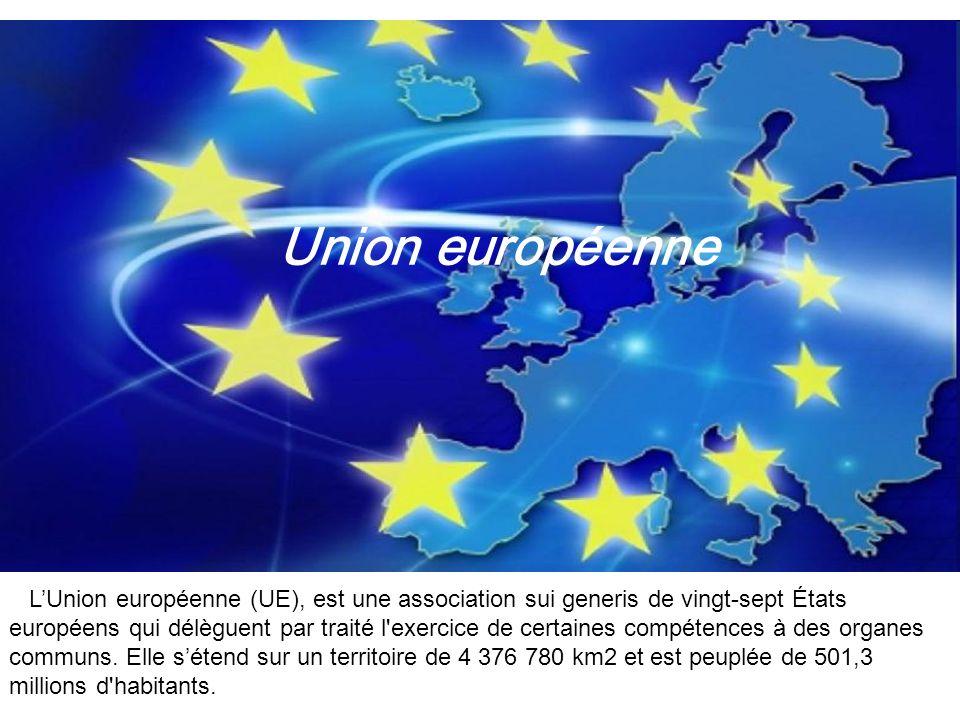 LUnion européenne (UE), est une association sui generis de vingt-sept États européens qui délèguent par traité l'exercice de certaines compétences à d