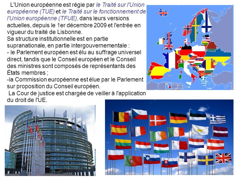 L'Union européenne est régie par le Traité sur l'Union européenne (TUE) et le Traité sur le fonctionnement de l'Union européenne (TFUE), dans leurs ve