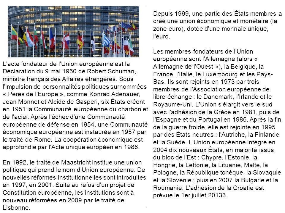 L'acte fondateur de l'Union européenne est la Déclaration du 9 mai 1950 de Robert Schuman, ministre français des Affaires étrangères. Sous l'impulsion