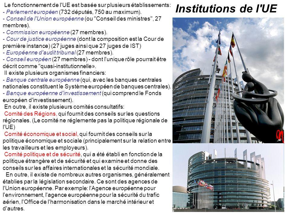 Le fonctionnement de l'UE est basée sur plusieurs établissements: - Parlement européen (732 députés, 750 au maximum). - Conseil de l'Union européenne