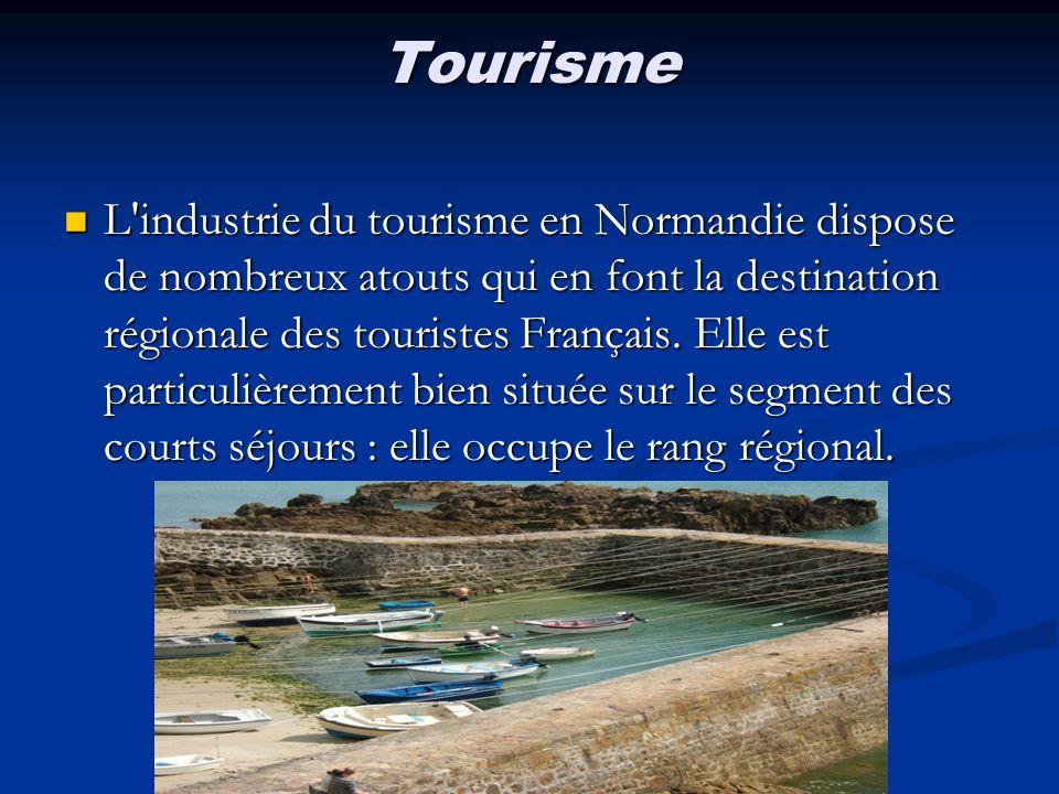 Tourisme L'industrie du tourisme en Normandie dispose de nombreux atouts qui en font la destination régionale des touristes Français. Elle est particu