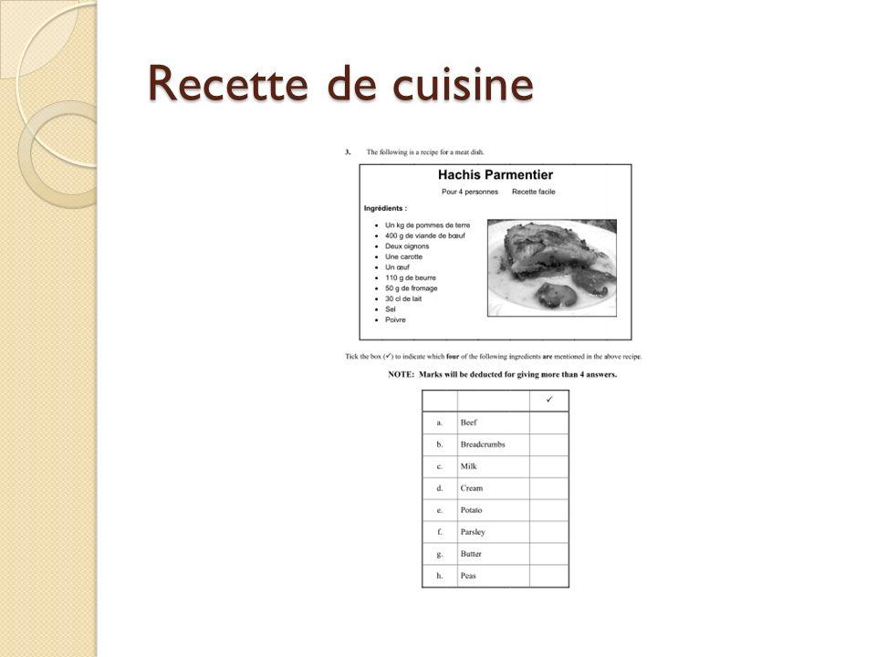 Recette de cuisine