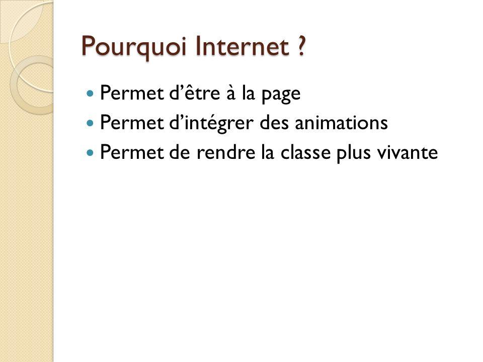 Pourquoi Internet ? Permet dêtre à la page Permet dintégrer des animations Permet de rendre la classe plus vivante