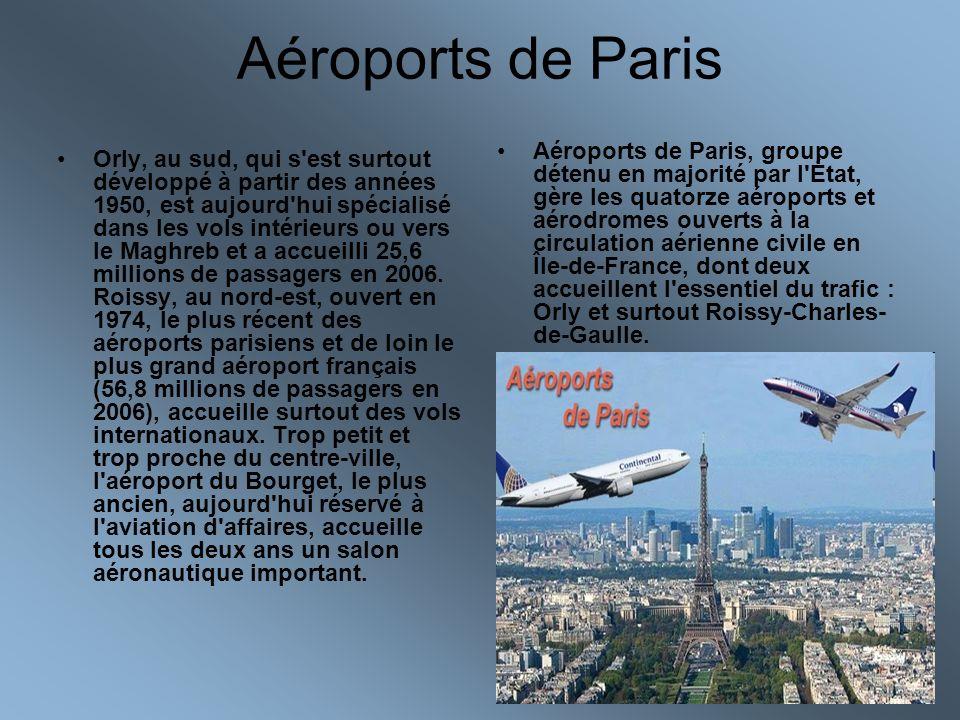 Aéroports de Paris Orly, au sud, qui s'est surtout développé à partir des années 1950, est aujourd'hui spécialisé dans les vols intérieurs ou vers le