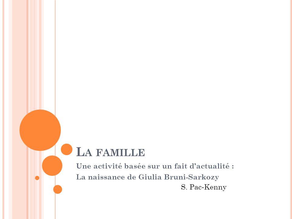 L A FAMILLE Une activité basée sur un fait dactualité : La naissance de Giulia Bruni-Sarkozy S. Pac-Kenny