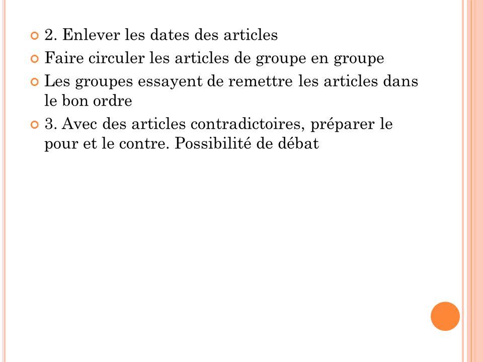 2. Enlever les dates des articles Faire circuler les articles de groupe en groupe Les groupes essayent de remettre les articles dans le bon ordre 3. A