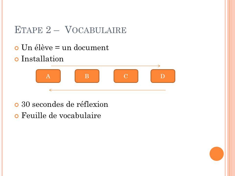 E TAPE 2 – V OCABULAIRE Un élève = un document Installation 30 secondes de réflexion Feuille de vocabulaire ABCD