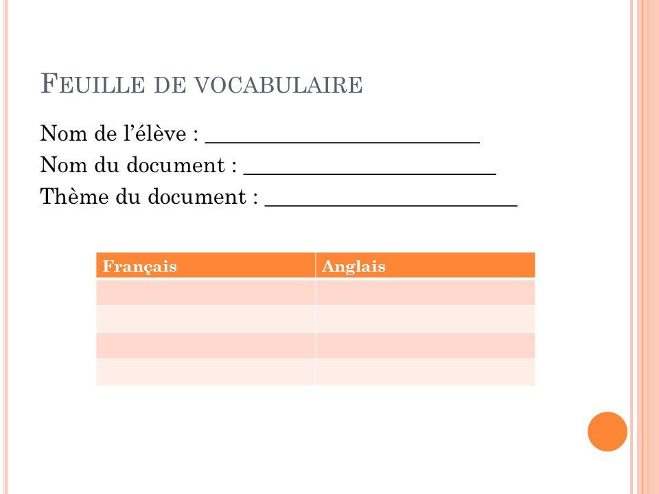 F EUILLE DE VOCABULAIRE Nom de lélève : _________________________ Nom du document : _______________________ Thème du document : ______________________