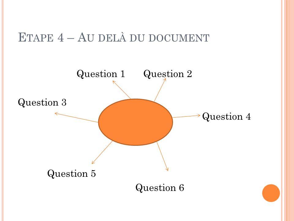 E TAPE 4 – A U DELÀ DU DOCUMENT Question 1 Question 2 Question 3 Question 4 Question 5 Question 6