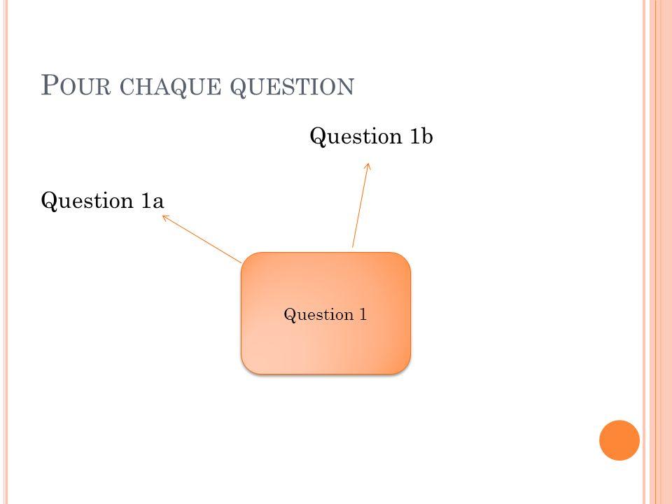 P OUR CHAQUE QUESTION Question 1b Question 1a Question 1