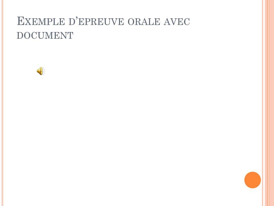 E XEMPLE D EPREUVE ORALE AVEC DOCUMENT