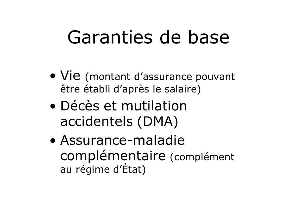 Garanties de base Vie (montant dassurance pouvant être établi daprès le salaire) Décès et mutilation accidentels (DMA) Assurance-maladie complémentaire (complément au régime dÉtat)
