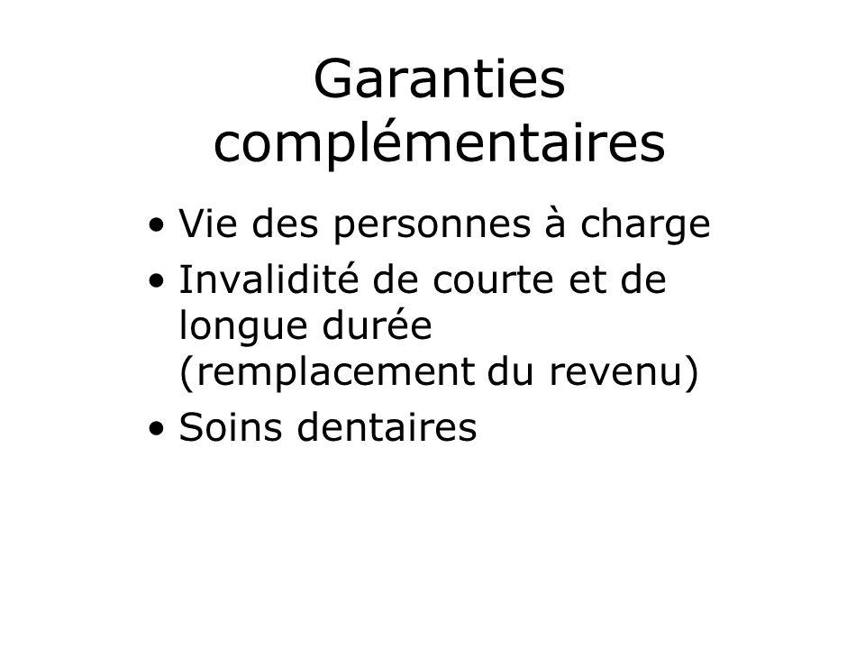Garanties complémentaires Vie des personnes à charge Invalidité de courte et de longue durée (remplacement du revenu) Soins dentaires
