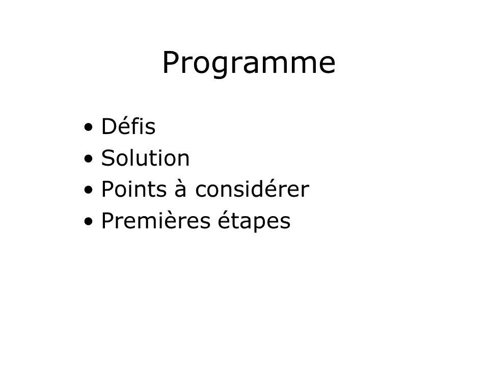 Programme Défis Solution Points à considérer Premières étapes