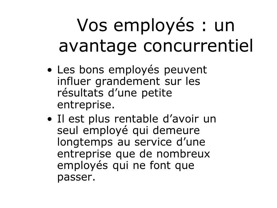 Vos employés : un avantage concurrentiel Les bons employés peuvent influer grandement sur les résultats dune petite entreprise.
