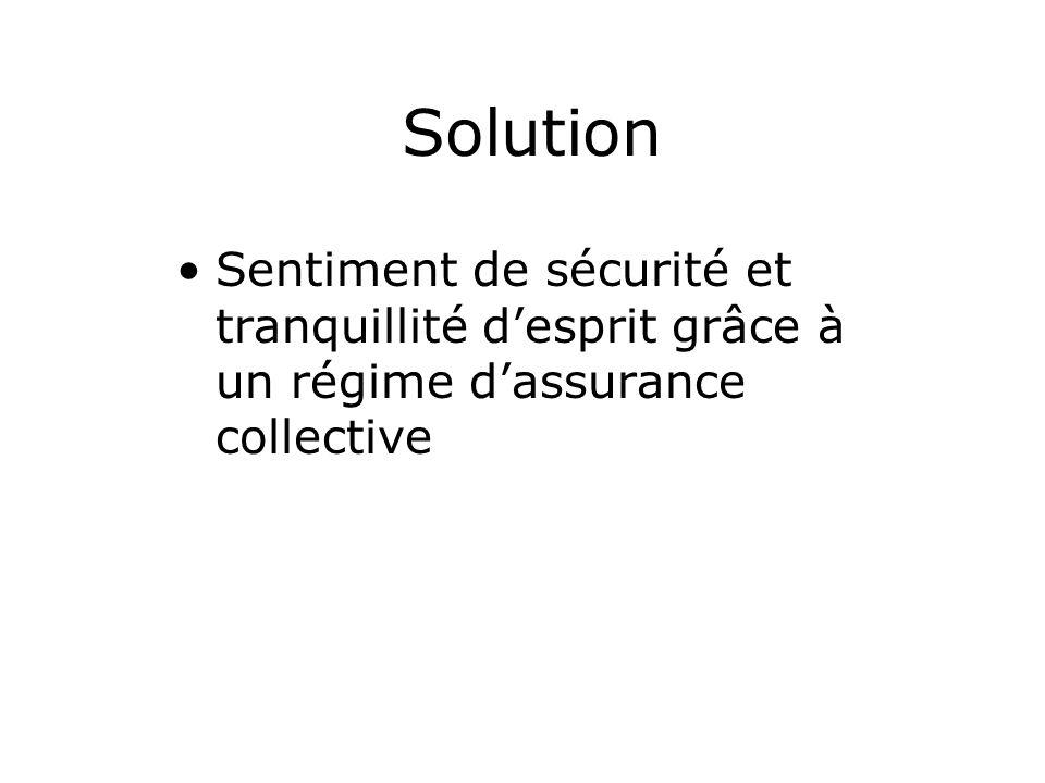 Solution Sentiment de sécurité et tranquillité desprit grâce à un régime dassurance collective