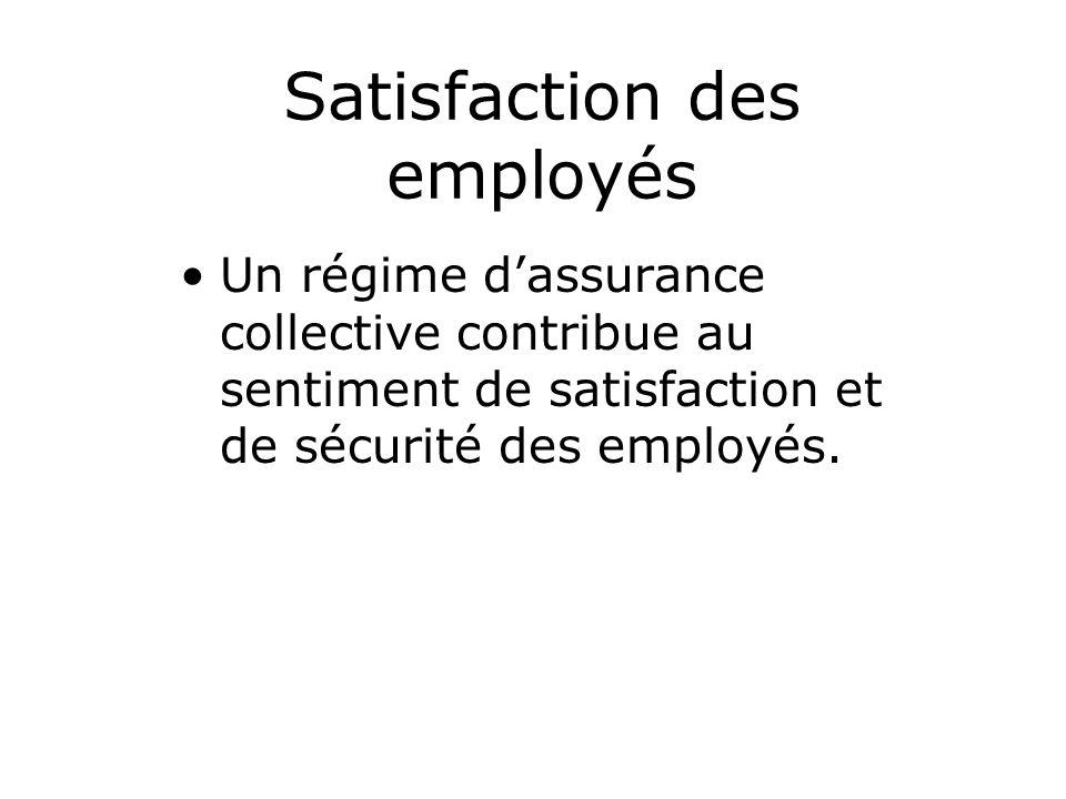 Satisfaction des employés Un régime dassurance collective contribue au sentiment de satisfaction et de sécurité des employés.