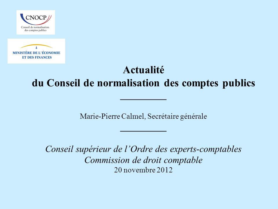 Actualité du Conseil de normalisation des comptes publics __________ Marie-Pierre Calmel, Secrétaire générale __________ Conseil supérieur de lOrdre d