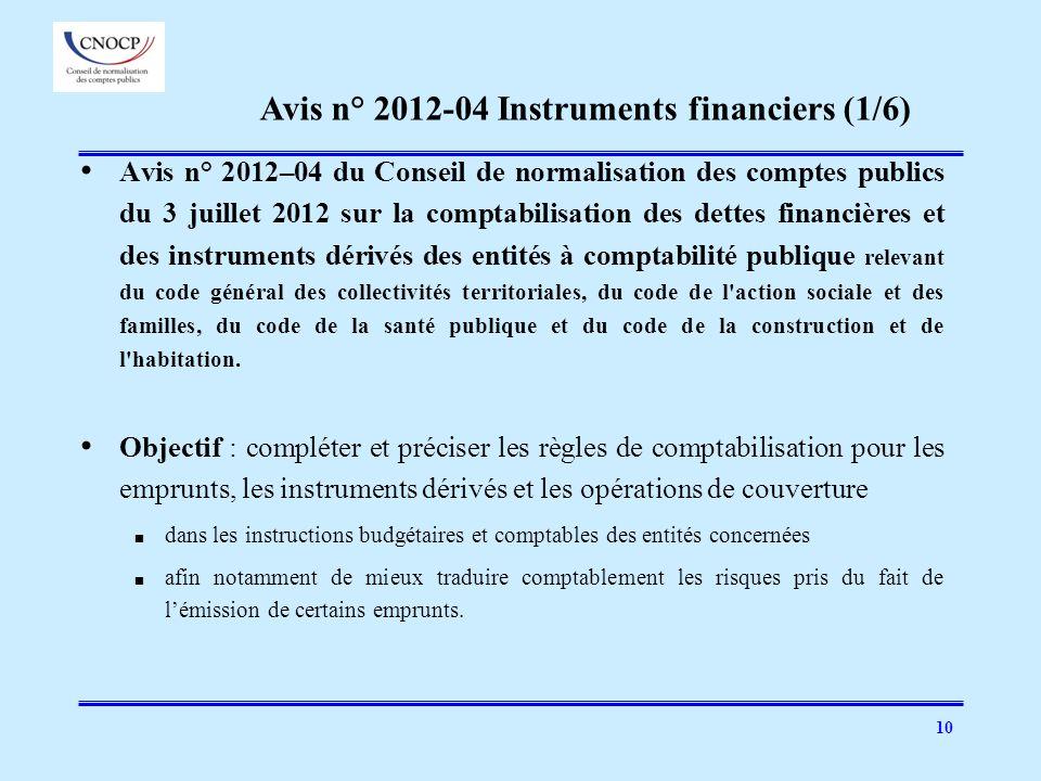 10 Avis n° 2012–04 du Conseil de normalisation des comptes publics du 3 juillet 2012 sur la comptabilisation des dettes financières et des instruments