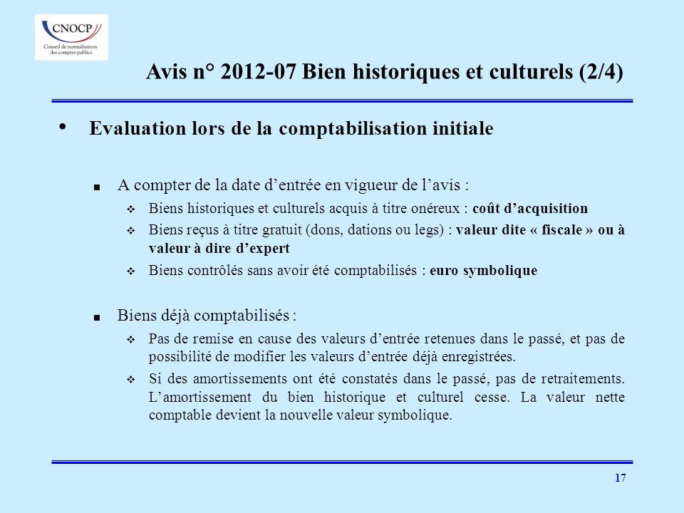 17 Evaluation lors de la comptabilisation initiale A compter de la date dentrée en vigueur de lavis : Biens historiques et culturels acquis à titre on