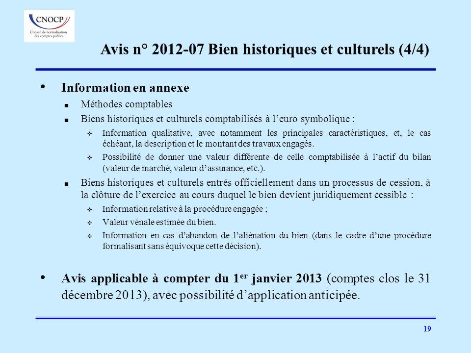19 Information en annexe Méthodes comptables Biens historiques et culturels comptabilisés à leuro symbolique : Information qualitative, avec notamment