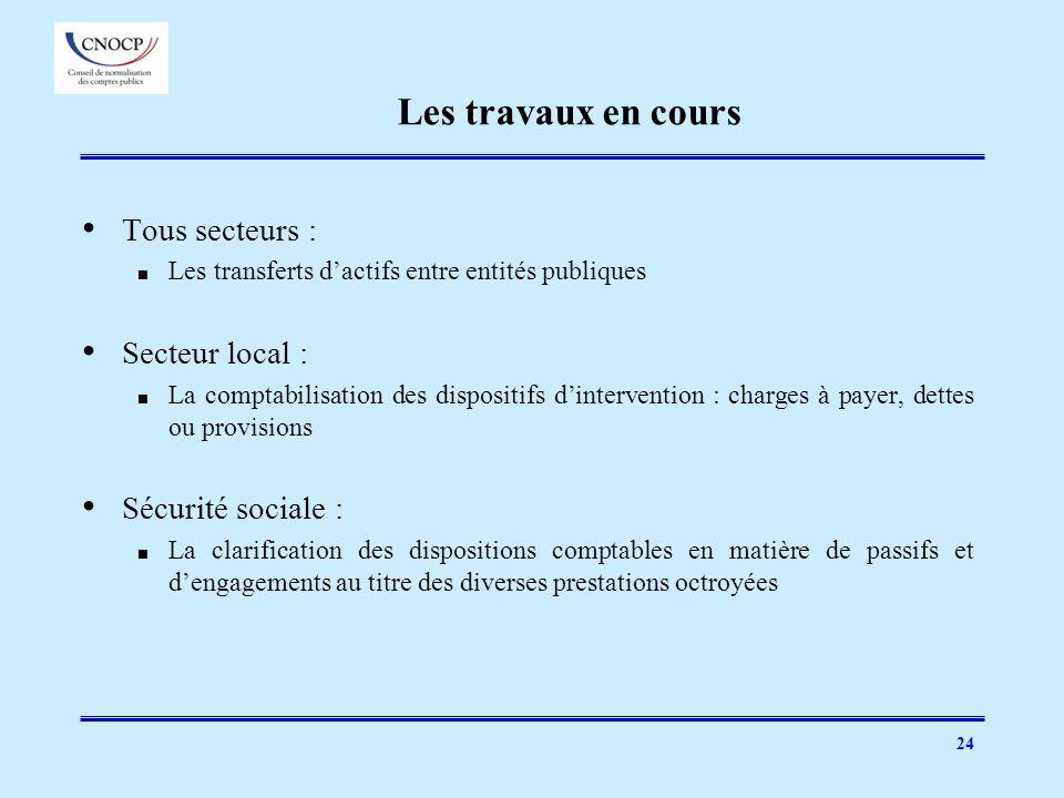 24 Les travaux en cours Tous secteurs : Les transferts dactifs entre entités publiques Secteur local : La comptabilisation des dispositifs dinterventi