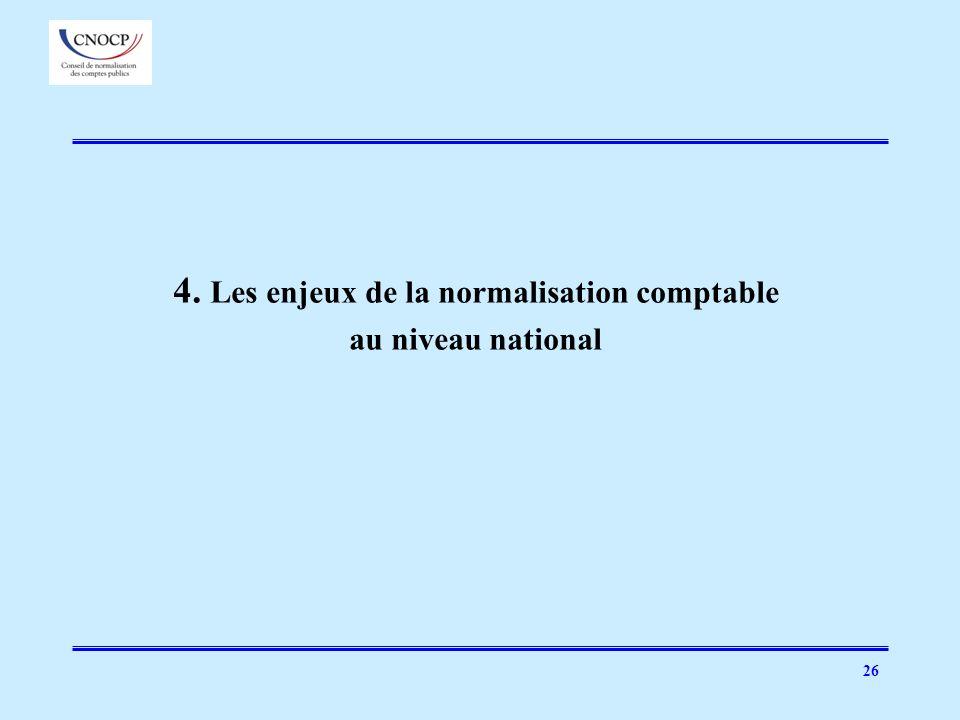26 4. Les enjeux de la normalisation comptable au niveau national