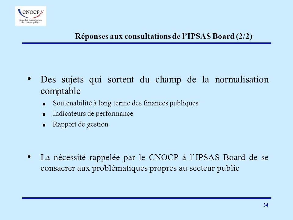 34 Réponses aux consultations de lIPSAS Board (2/2) Des sujets qui sortent du champ de la normalisation comptable Soutenabilité à long terme des finan