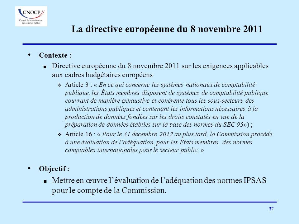 37 La directive européenne du 8 novembre 2011 Contexte : Directive européenne du 8 novembre 2011 sur les exigences applicables aux cadres budgétaires
