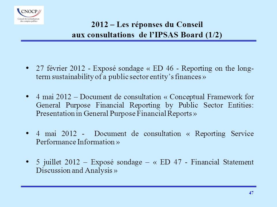 47 2012 – Les réponses du Conseil aux consultations de lIPSAS Board (1/2) 27 février 2012 - Exposé sondage « ED 46 - Reporting on the long- term susta