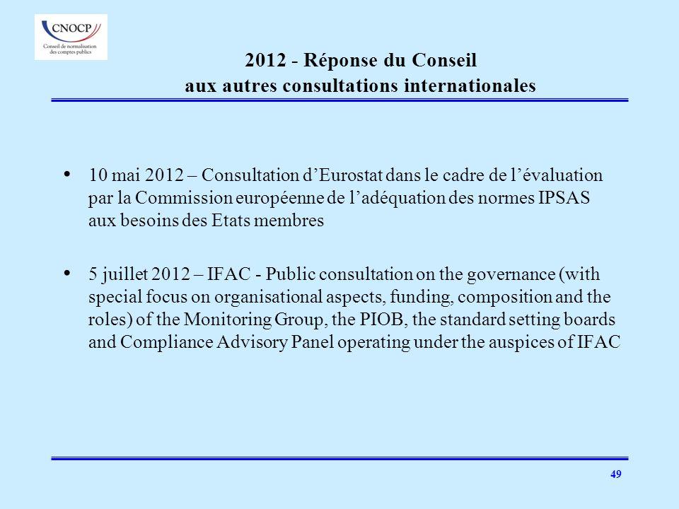 49 2012 - Réponse du Conseil aux autres consultations internationales 10 mai 2012 – Consultation dEurostat dans le cadre de lévaluation par la Commiss