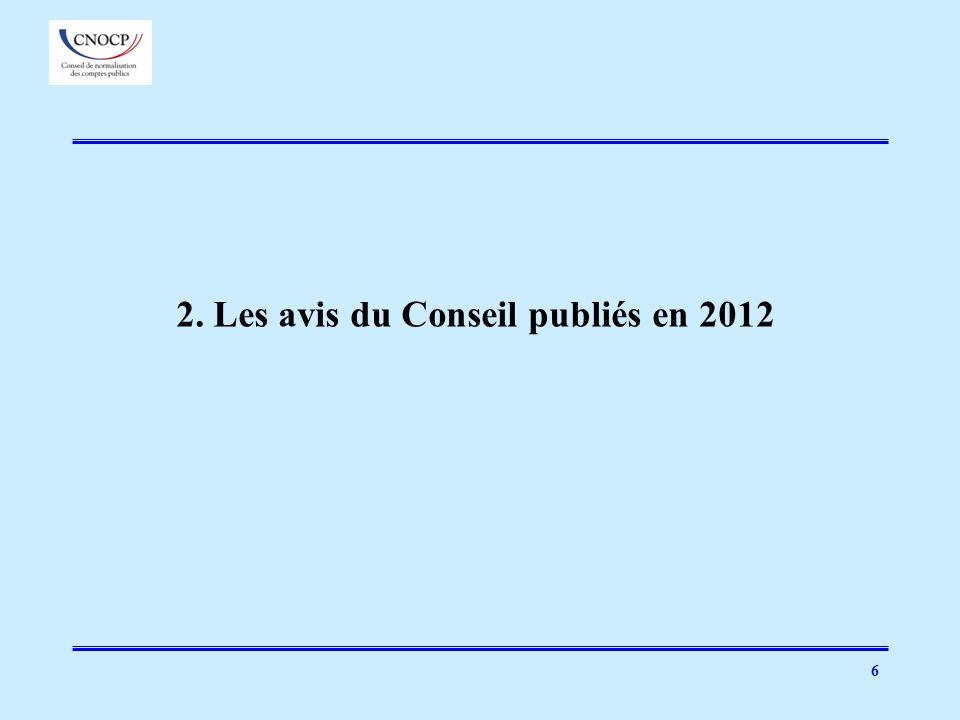 6 2. Les avis du Conseil publiés en 2012
