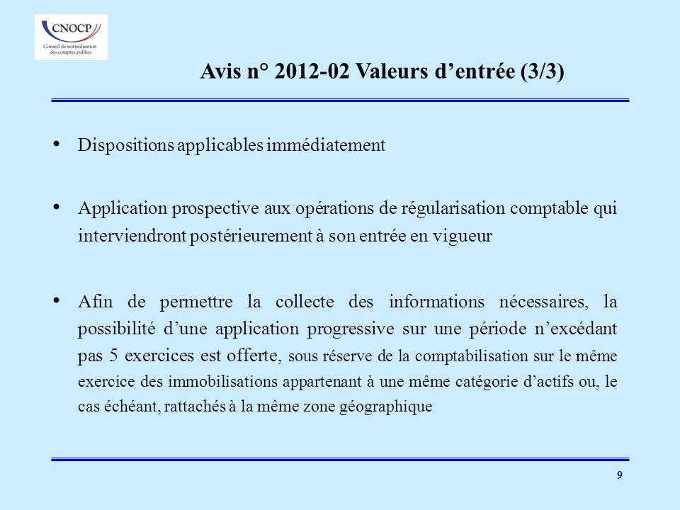 9 Dispositions applicables immédiatement Application prospective aux opérations de régularisation comptable qui interviendront postérieurement à son e