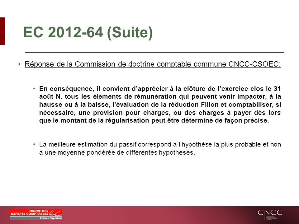 EC 2012-64 (Suite) Réponse de la Commission de doctrine comptable commune CNCC-CSOEC: En conséquence, il convient dapprécier à la clôture de lexercice