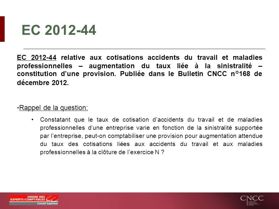 EC 2012-44 EC 2012-44 relative aux cotisations accidents du travail et maladies professionnelles – augmentation du taux liée à la sinistralité – const