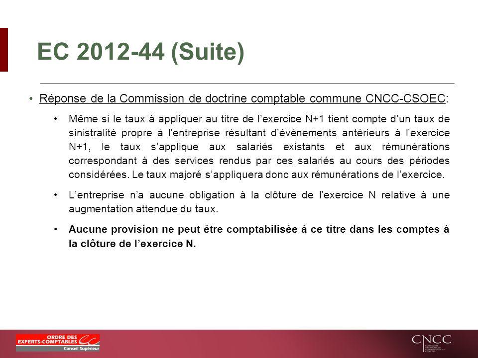EC 2012-44 (Suite) Réponse de la Commission de doctrine comptable commune CNCC-CSOEC: Même si le taux à appliquer au titre de lexercice N+1 tient comp