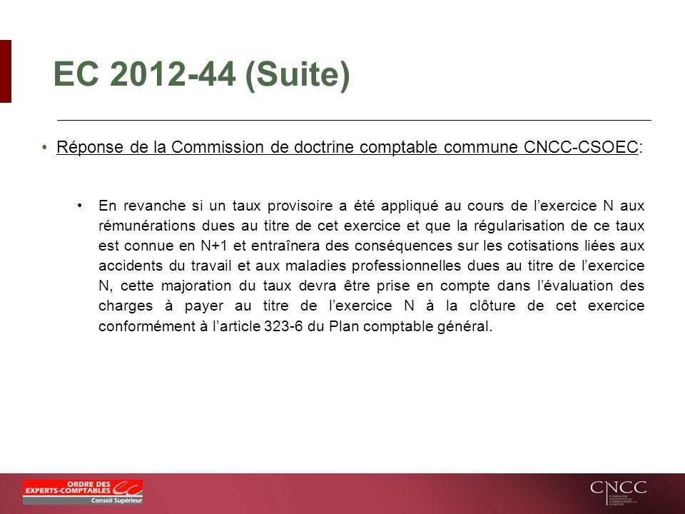 EC 2012-44 (Suite) Réponse de la Commission de doctrine comptable commune CNCC-CSOEC: En revanche si un taux provisoire a été appliqué au cours de lex