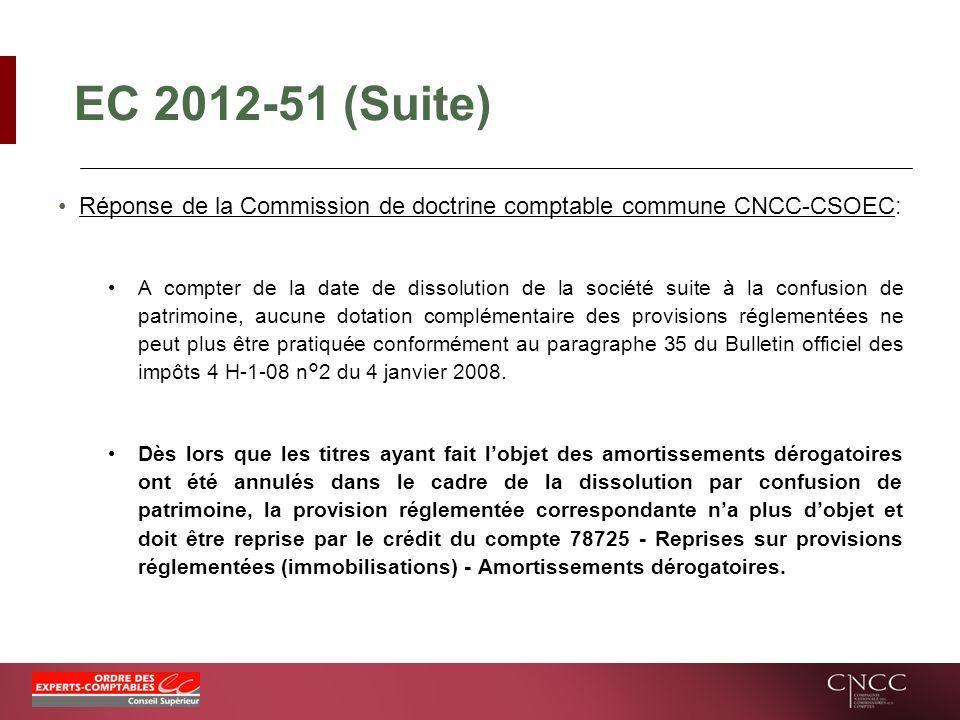EC 2012-51 (Suite) Réponse de la Commission de doctrine comptable commune CNCC-CSOEC: A compter de la date de dissolution de la société suite à la con