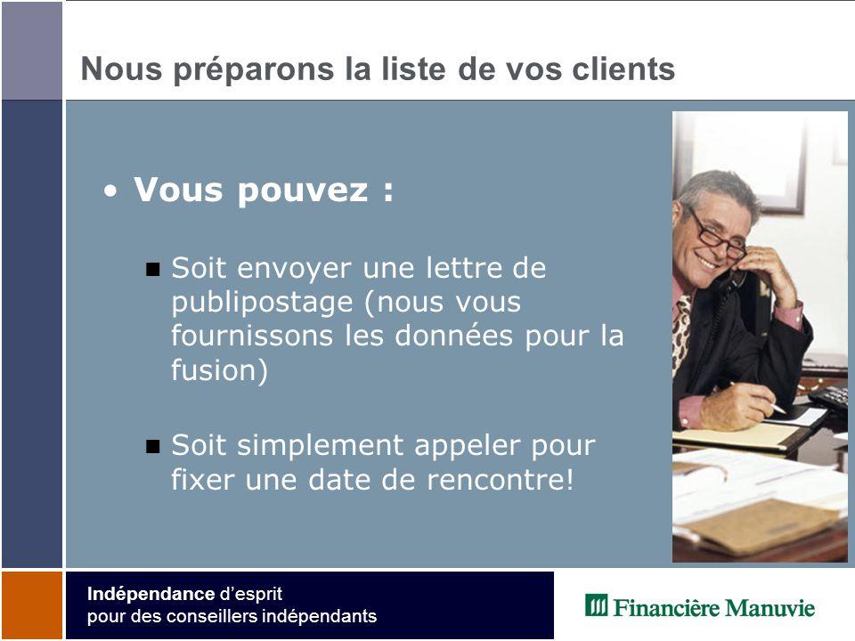 Indépendance desprit pour des conseillers indépendants Nous préparons la liste de vos clients Vous pouvez : Soit envoyer une lettre de publipostage (nous vous fournissons les données pour la fusion) Soit simplement appeler pour fixer une date de rencontre!