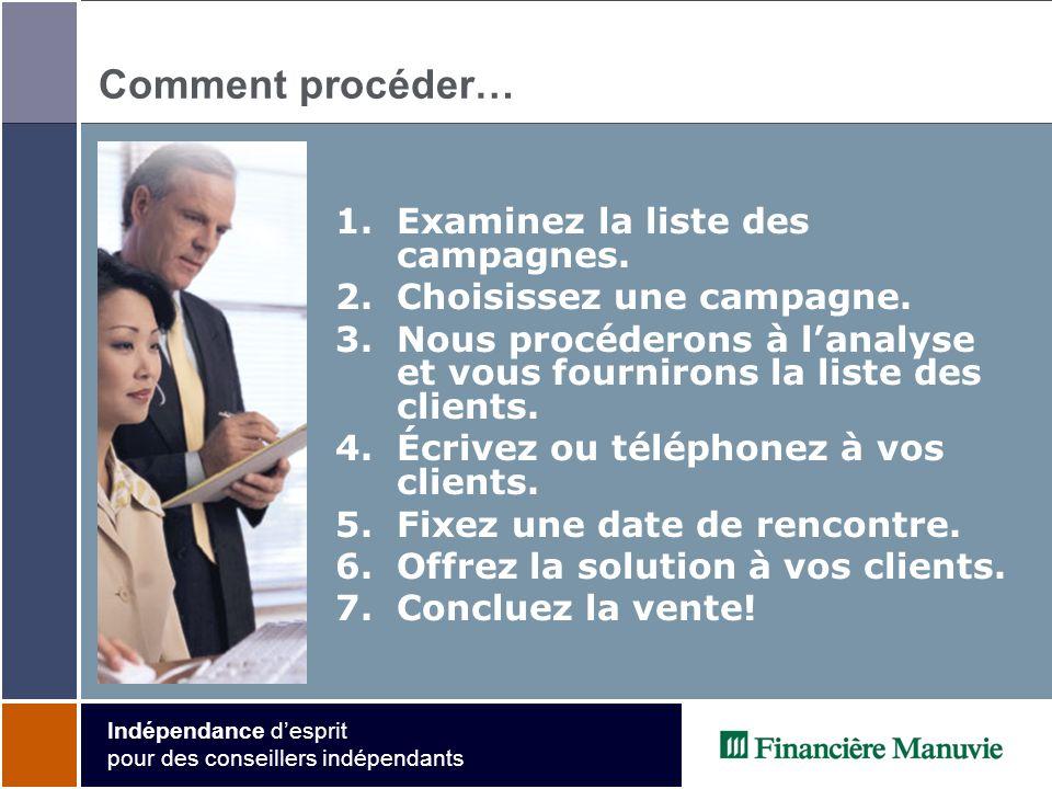 Indépendance desprit pour des conseillers indépendants Comment procéder… 1.Examinez la liste des campagnes.
