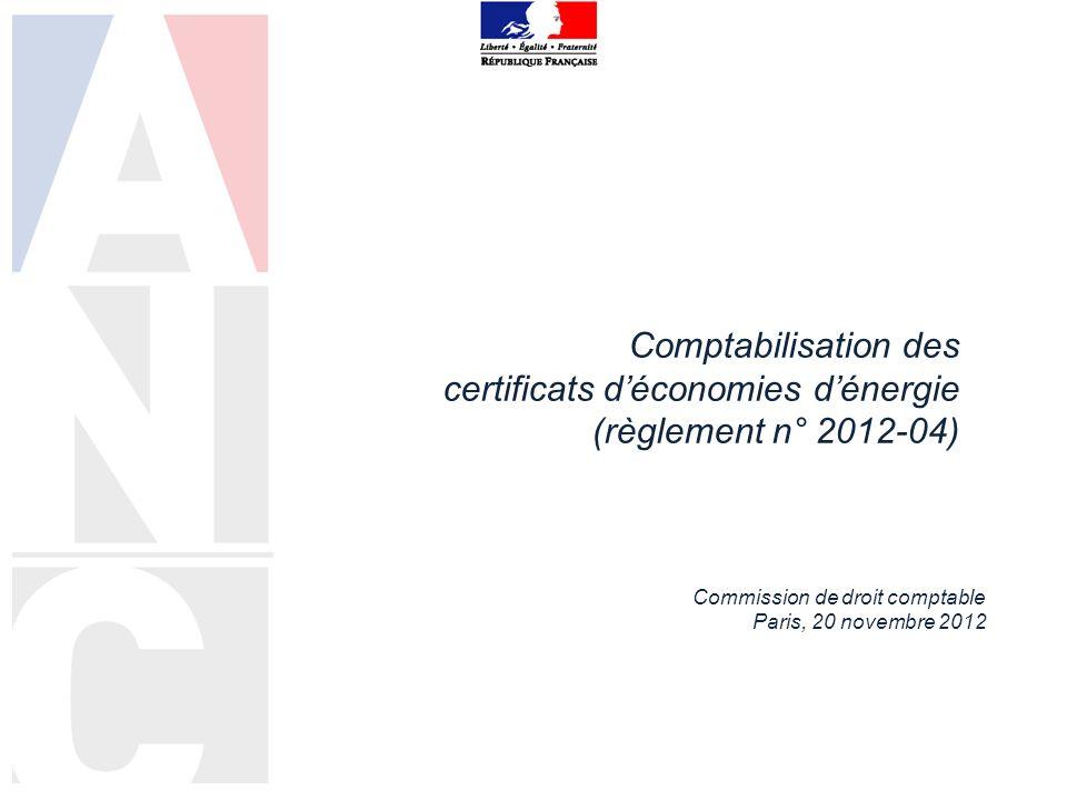 Comptabilisation des certificats déconomies dénergie (règlement n° 2012-04) Commission de droit comptable Paris, 20 novembre 2012