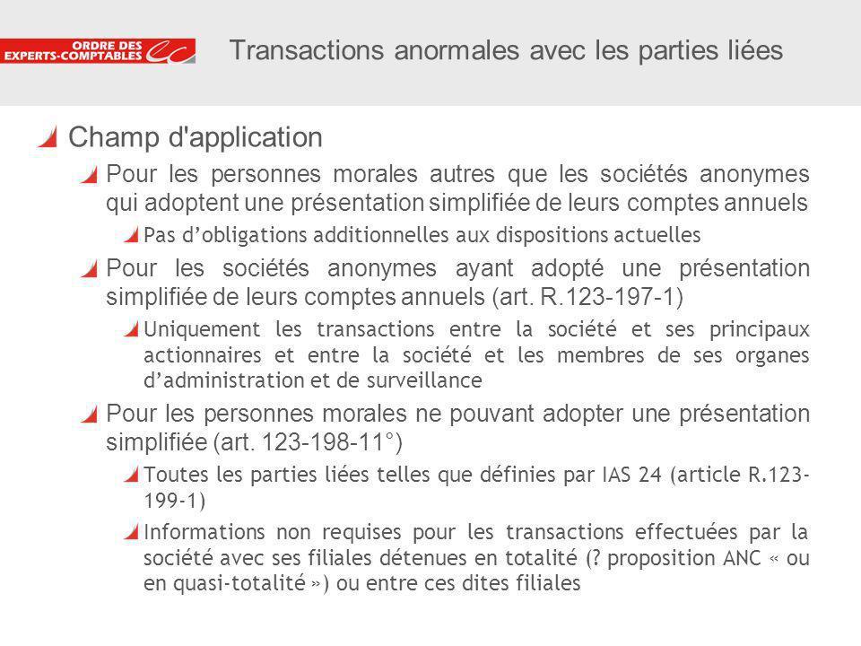 10 Transactions anormales avec les parties liées Champ d'application Pour les personnes morales autres que les sociétés anonymes qui adoptent une prés