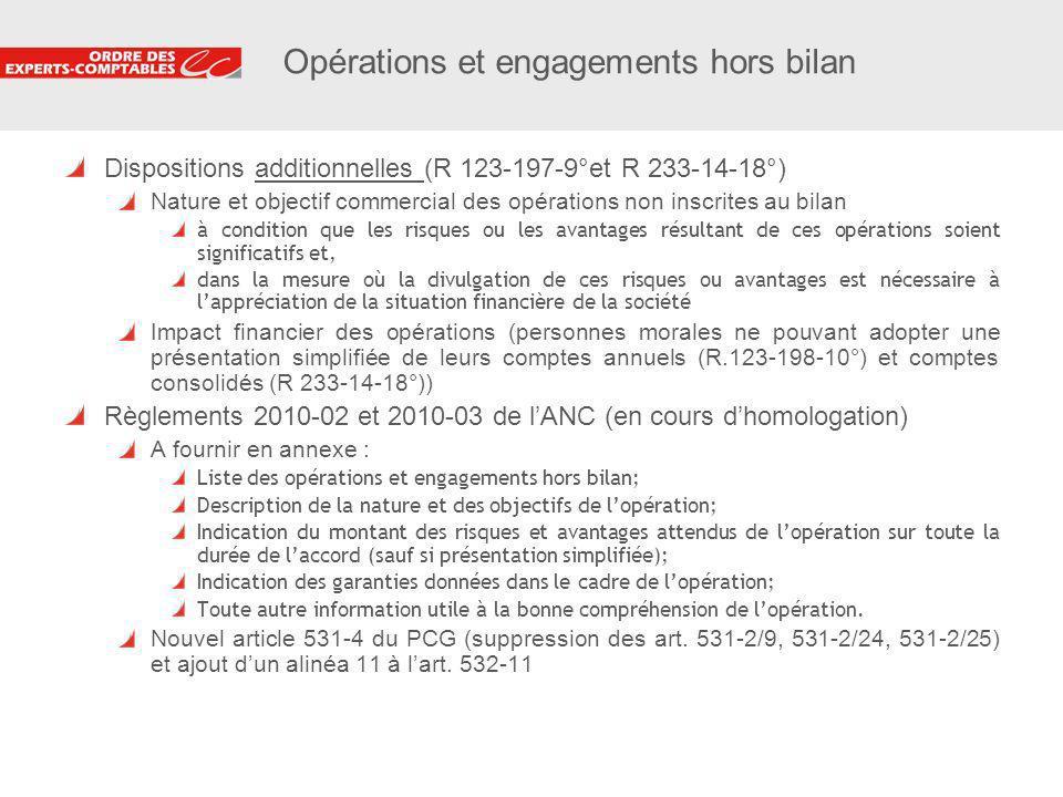 14 Opérations et engagements hors bilan Dispositions additionnelles (R 123-197-9°et R 233-14-18°) Nature et objectif commercial des opérations non ins
