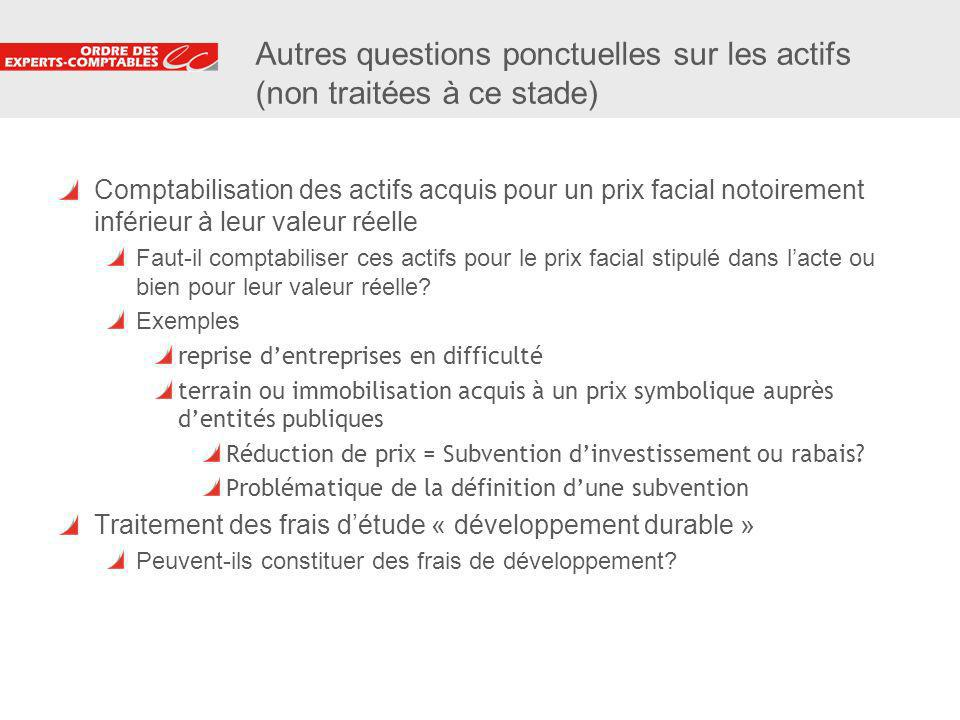 17 Autres questions ponctuelles sur les actifs (non traitées à ce stade) Comptabilisation des actifs acquis pour un prix facial notoirement inférieur