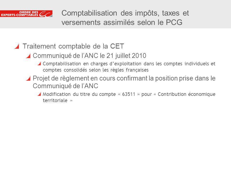 19 Comptabilisation des impôts, taxes et versements assimilés selon le PCG Traitement comptable de la CET Communiqué de lANC le 21 juillet 2010 Compta